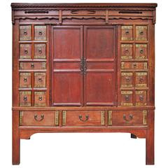 Antique Chinese Apothecary Armoire, Shanxi Province, Early 19th Century