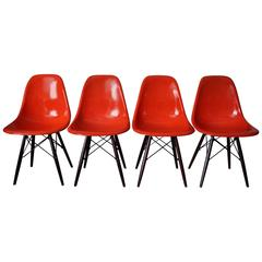 Red DSW Chairs by Charles and Ray Eames, 1950s, Set of Four