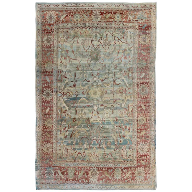 Vintage Turkish Oushak Rug with Green, Blue & Red