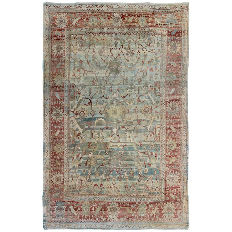 Vintage Turkish Oushak Rug with Green, Blue & Red For Sale