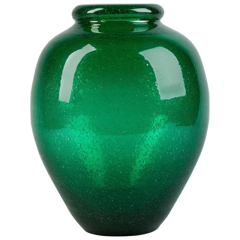 Schneider Green Glass Vase, 1930 For Sale