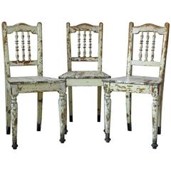 Set of Three Rustic Painted Chairs, France, Early 1900s
