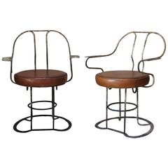 Unusual Pair of Iron and Leather Armchairs, France, circa 1930s