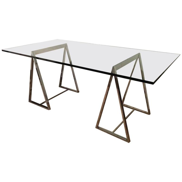 Vintage Industrial Space Age Coffee Table For Sale At Pamono: Polished Chrome Saw Horse Table Or Desk At 1stdibs