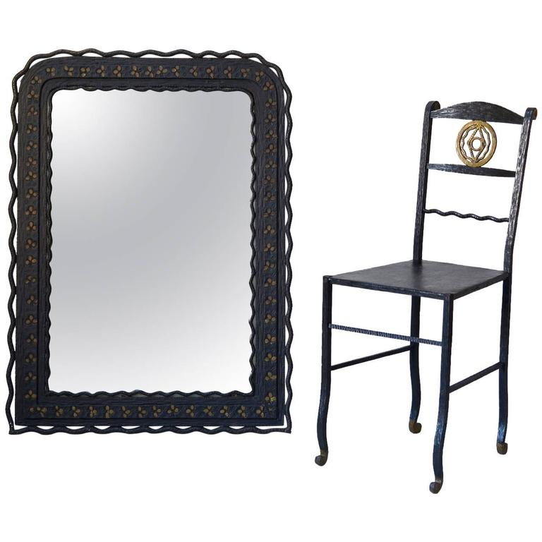 1920s Hammered Iron Mirror and Chair, France For Sale