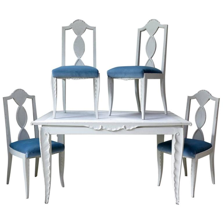 Dining Table and Chairs with Carved Palm-Frond Motif, France, circa 1940s