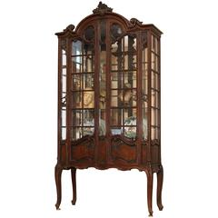 Large French  Louis XV Style Carved China Display Cabinet