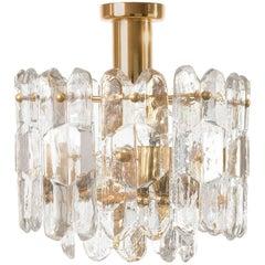 Kalmar Flush Mount Light 'Palazzo', Gilt Brass Glass, 1970, One of Three