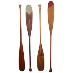 Collection of Four Vintage Wood Oars