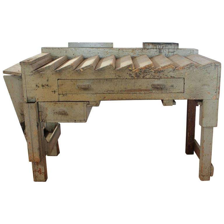 Unusual Antique Printer's Working Wood Table/Desk For Sale