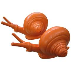 Whimsical Pair of Cast Iron Painted Orange Snail Bookends Mid-Century Modern