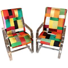 Colorful Silk Patchwork Lucite and Chrome Armchairs