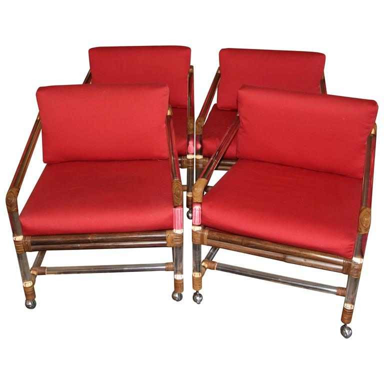 Four Lucite Rattan or Bamboo Ficks Reed Armchairs at 1stdibs