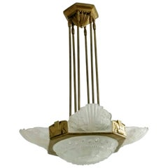 French Art Deco pandent Chandelier by Georges Leleu