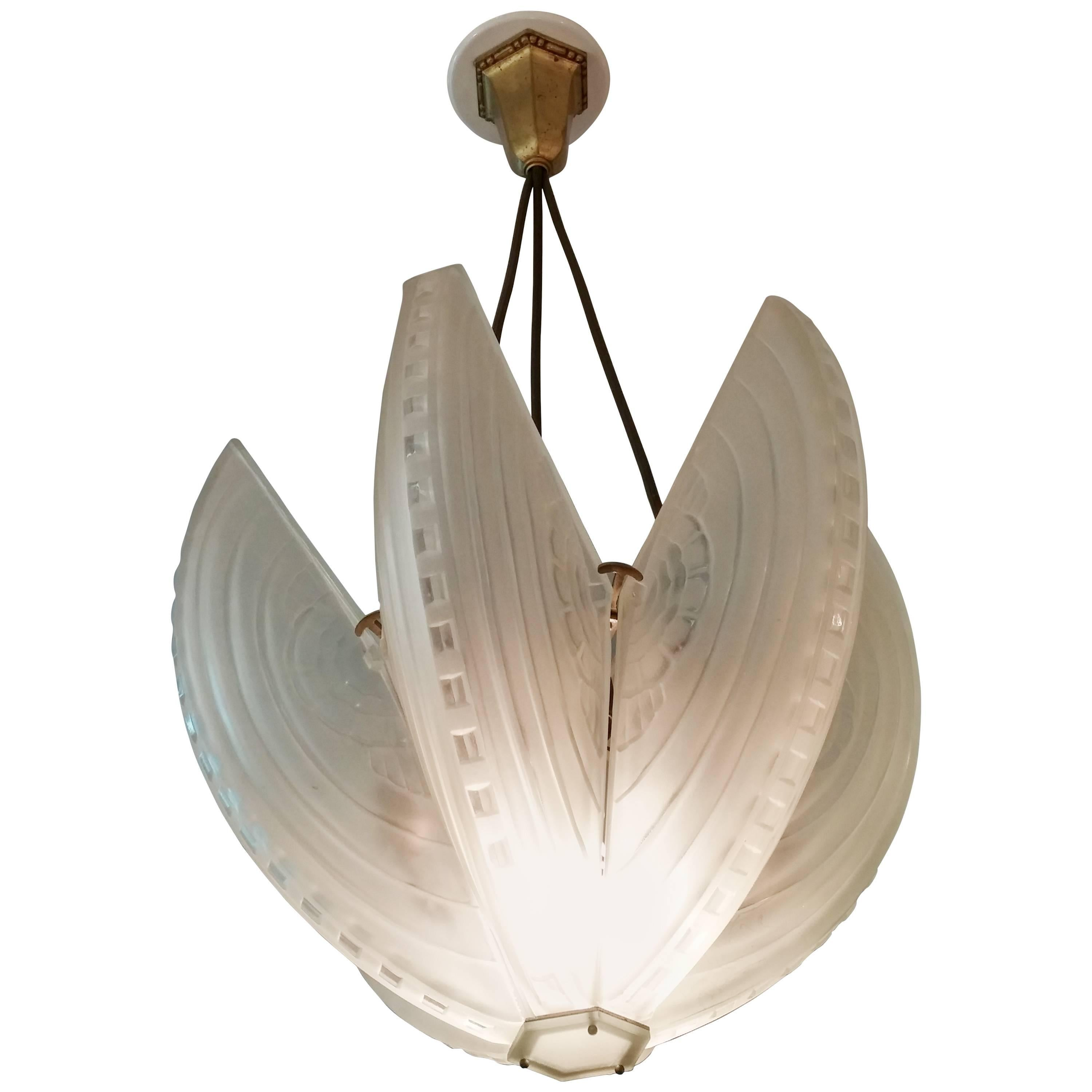 French Art Deco Chandelier or Pendant Signed by Sabino