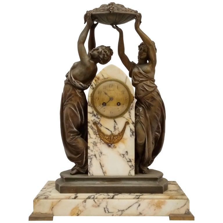 French Art Nouveau Sculpture Clock For Sale