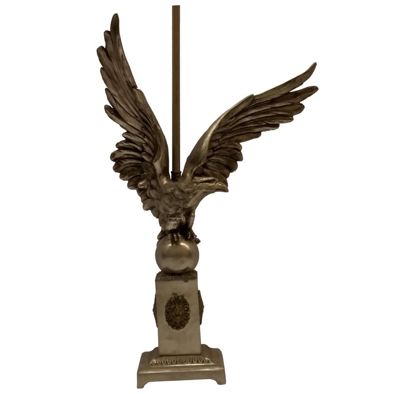 French Art Deco Eagle Table Lamp For Sale