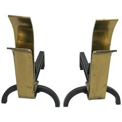 Pair of Brass Andirons Designed by Eliel Saarinen, circa 1945, Made in America