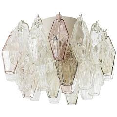 Flush Mount Light Fixture in the Style of Venini, Murano Glass, 1960s
