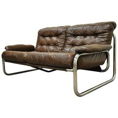 Mid-Century Modern Brown Leather Tubular Chrome Settee after Rodney Kinsman