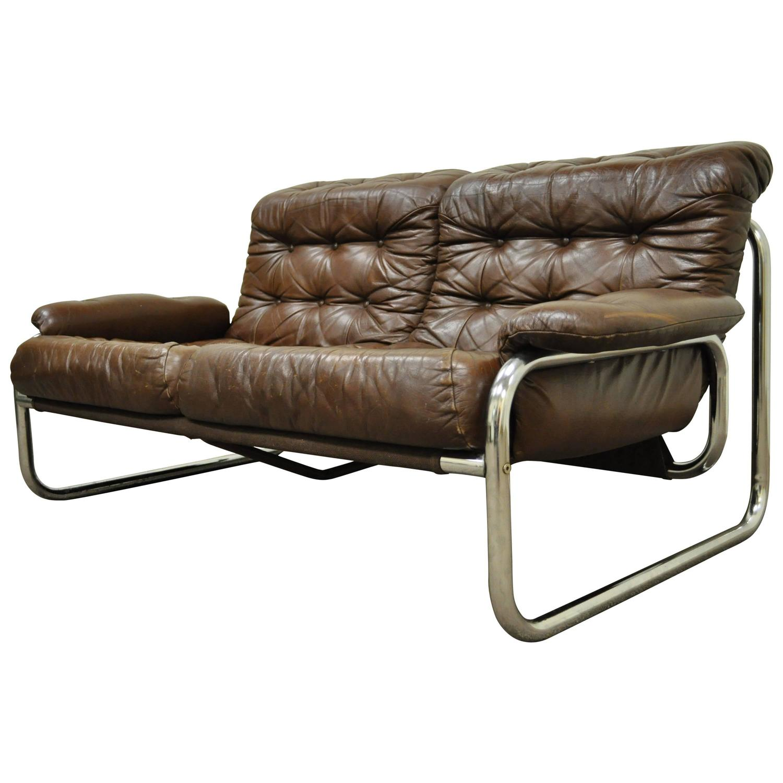 Mid Century Modern Brown Leather Tubular Chrome Settee