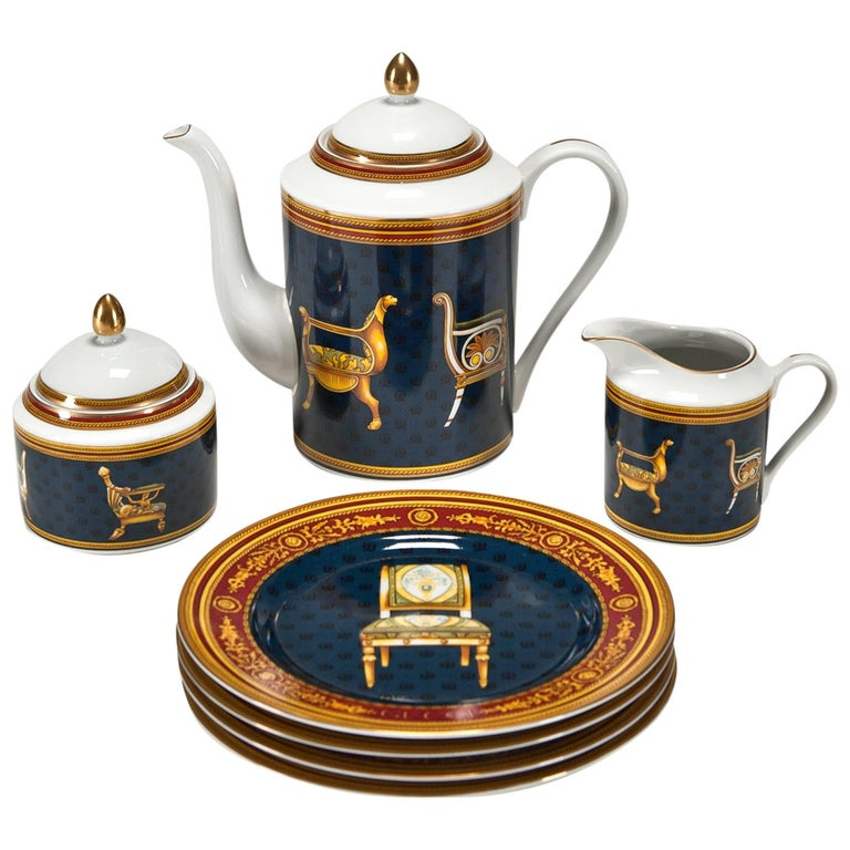 Coffee Set and Dessert Plates with Chairs by Gucci For Sale
