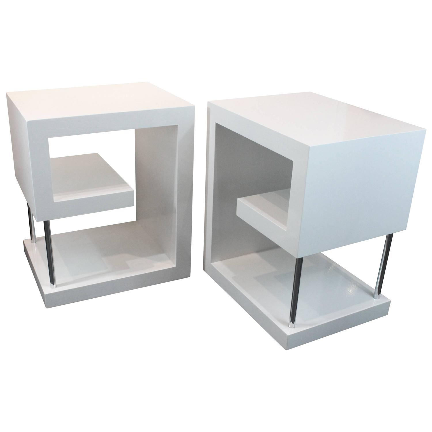 Postmodern Greek Key Design White Lacquered Side Tables ...