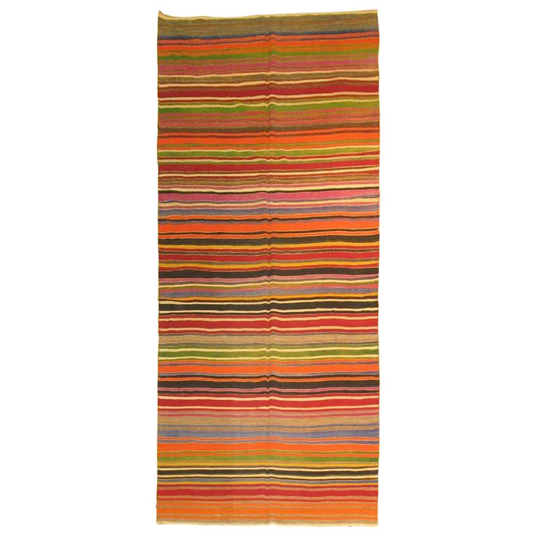 Turkish Kilim Gallery Size Flat-Weave For Sale