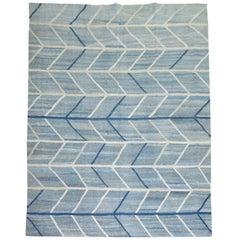 Scandinavian Inspired Turkish Kilim Flat-Weave Rug in Blues