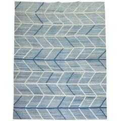 Scandinavian Inspired Turkish Kilim Flat-Weave Rug in Blues
