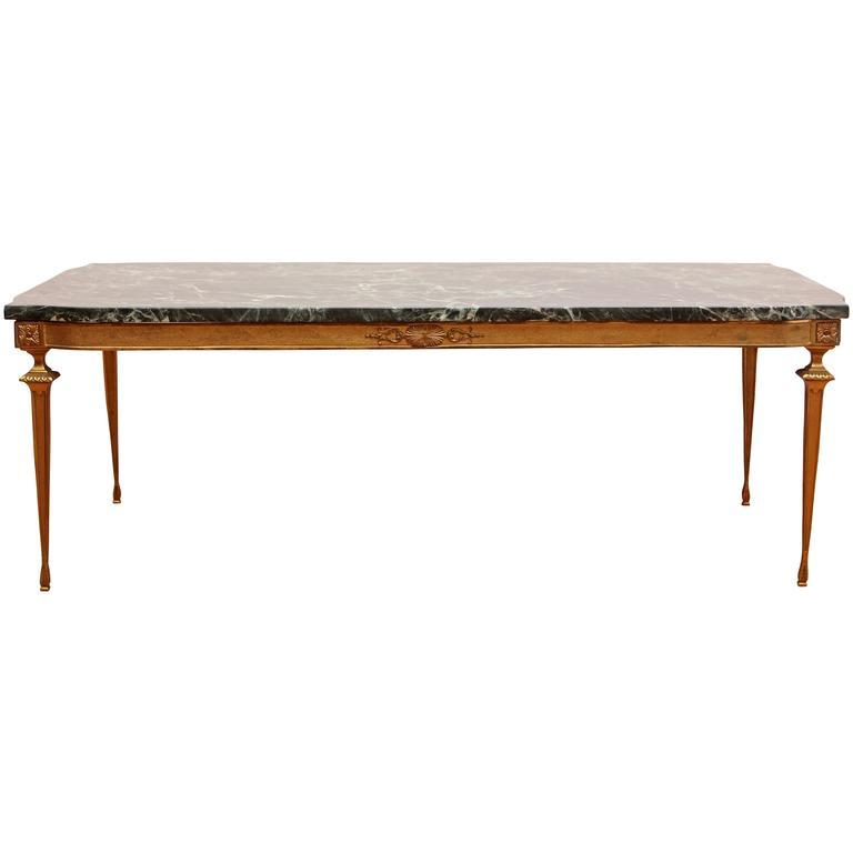 Italian Modern Neoclassical Bronze And Marble Coffee Table At 1stdibs