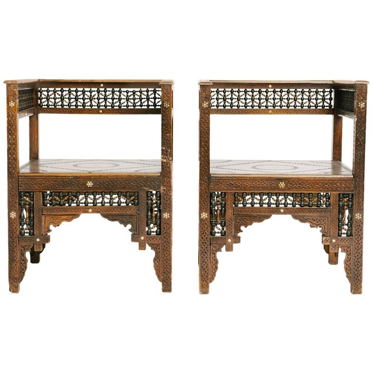 Pair Of Carved Moroccan Chairs 1