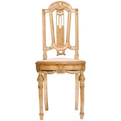 19th Century Neoclassical Style Giltwood Music Chair