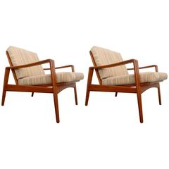 Pair of Arne Wahl Iversen Lounge Chairs for Komfort, Denmark, 1960