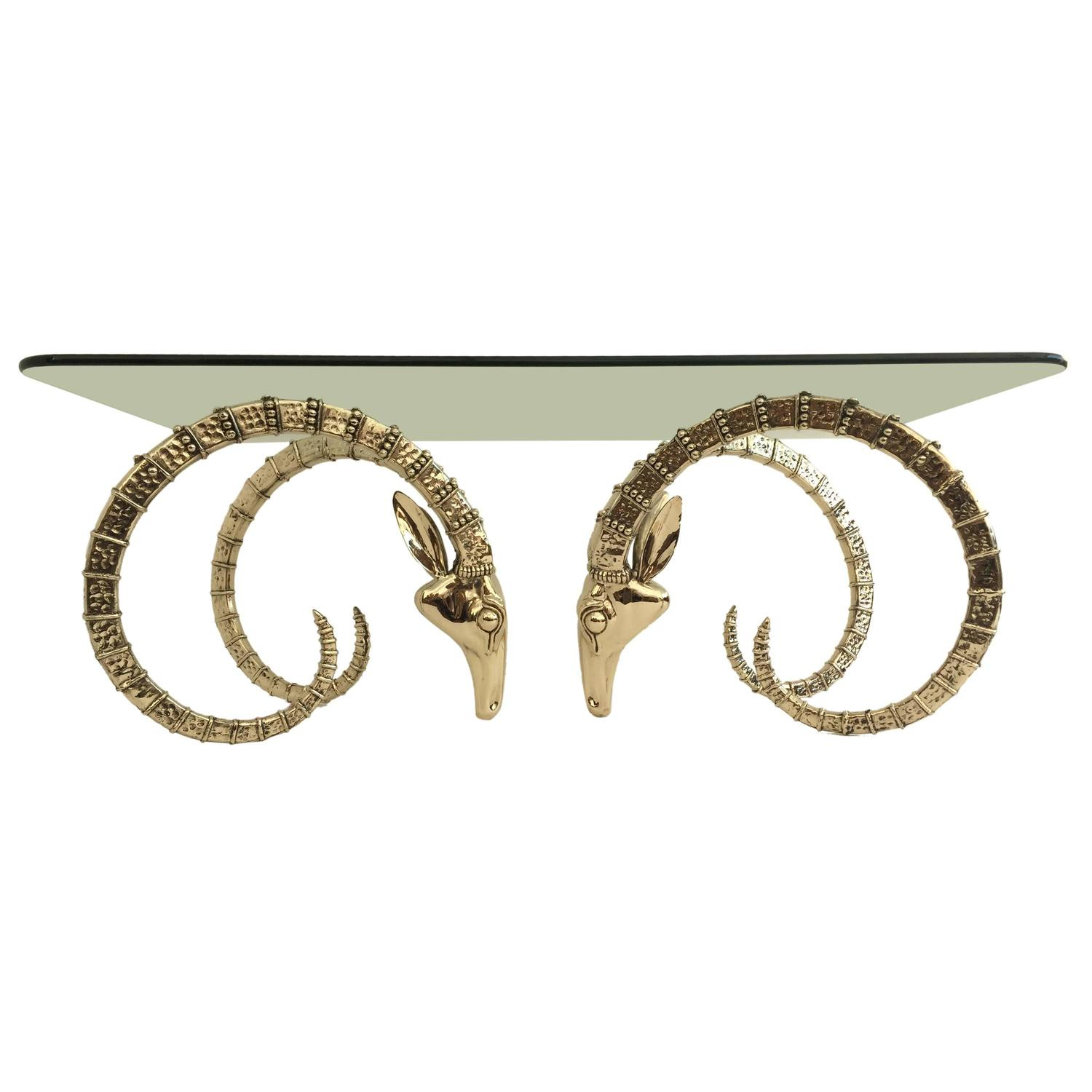Polished Brass Ibex or Ram Head Coffee Table Base at 1stdibs