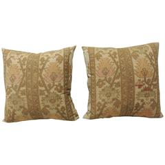 Pair of 19th Century Gold Turkish Embroidery Pillows