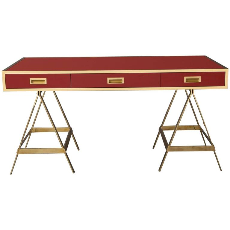 New Albrizzi Trestle Desk in Brass For Sale