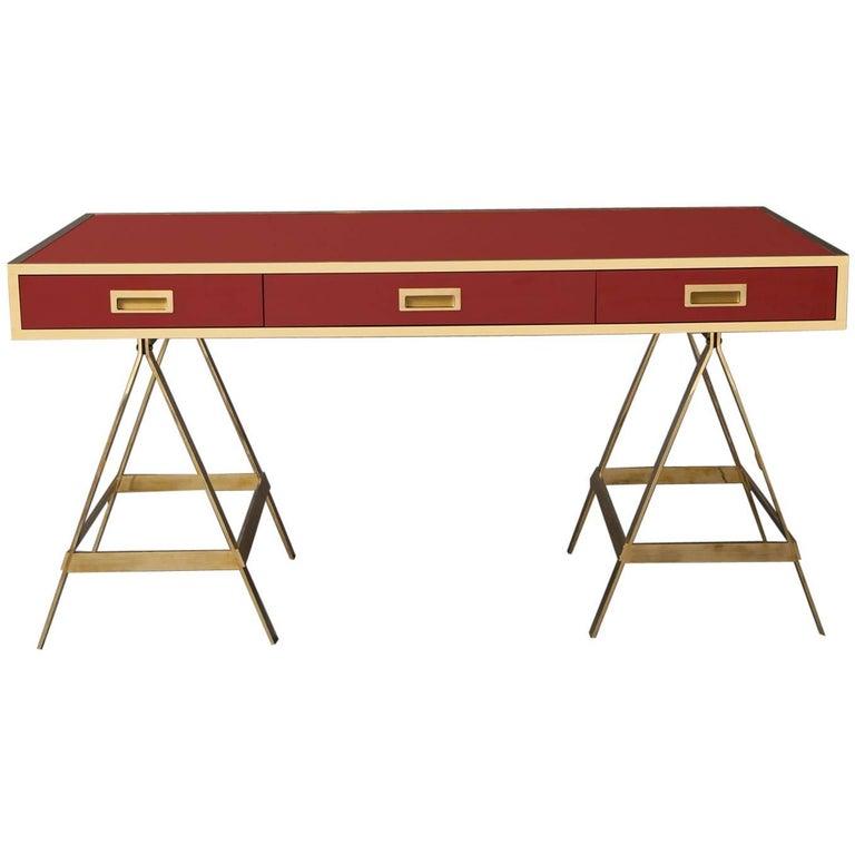 New Albrizzi Trestle Desk in Brass For Sale