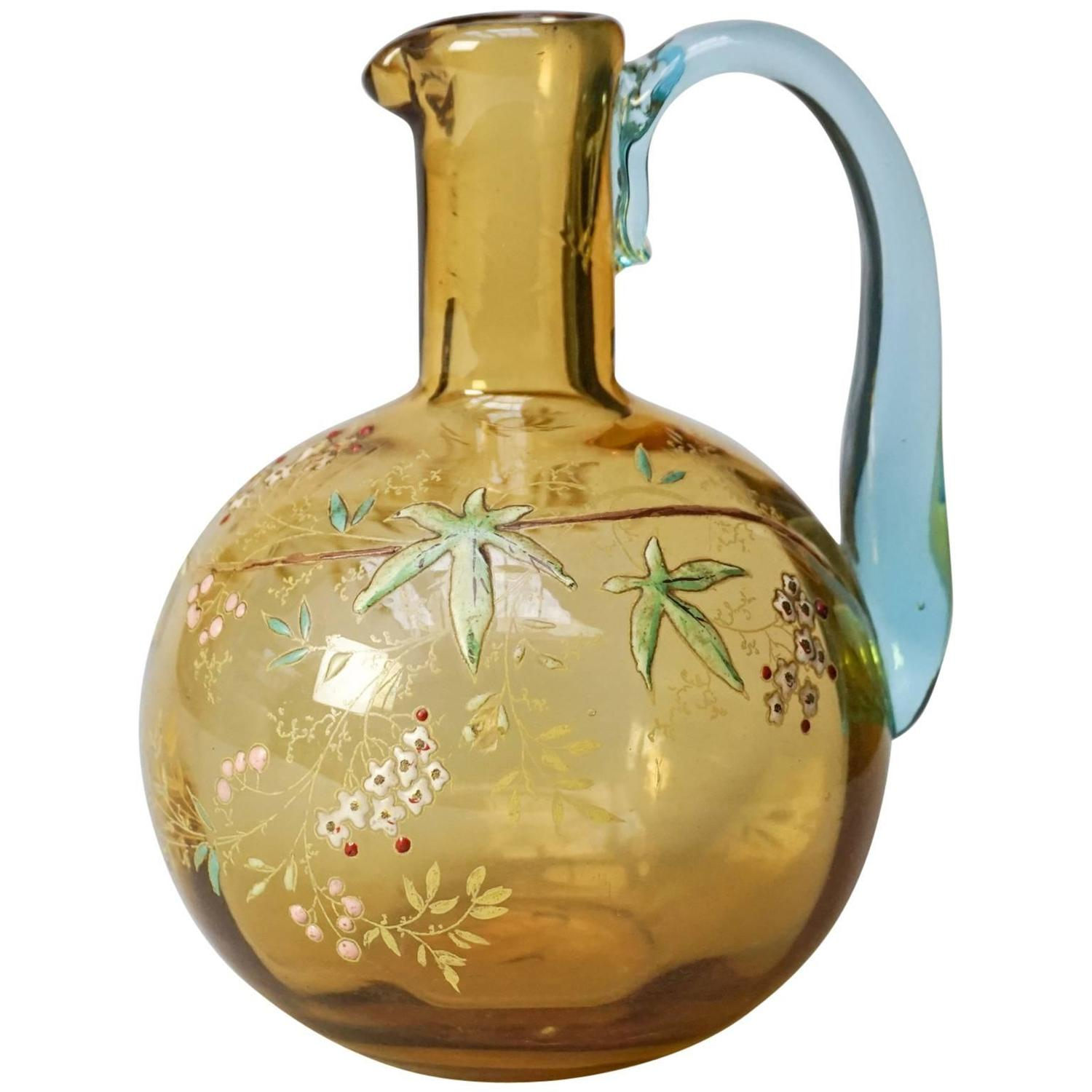 19th century victorian amber glass enameled flower carafe by 19th century victorian amber glass enameled flower carafe by legras for sale at 1stdibs floridaeventfo Image collections