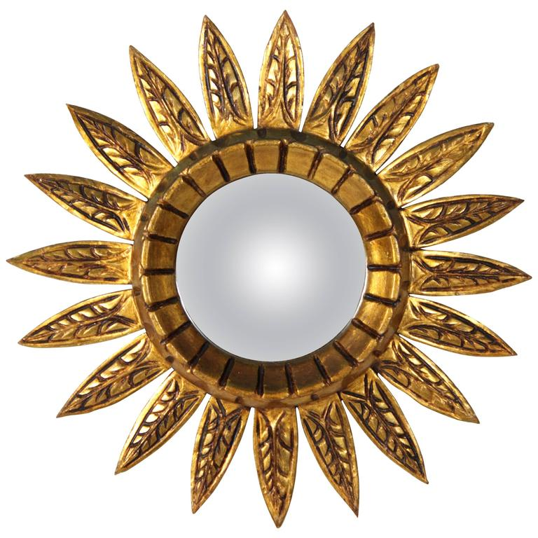 Spanish Giltwood Sunburst Mirror with Carved Decorative Details