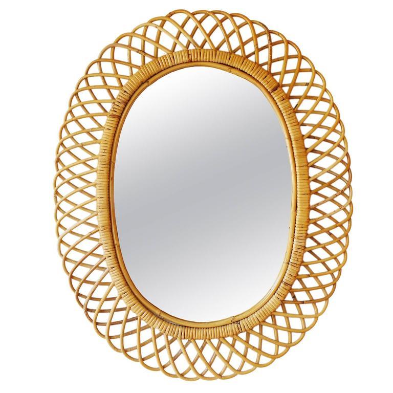 Franco Albini Style Rattan Mirror