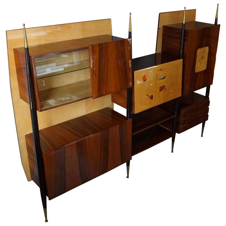 Italian Wall Unit Bookcase or Dry Bar at 1stdibs