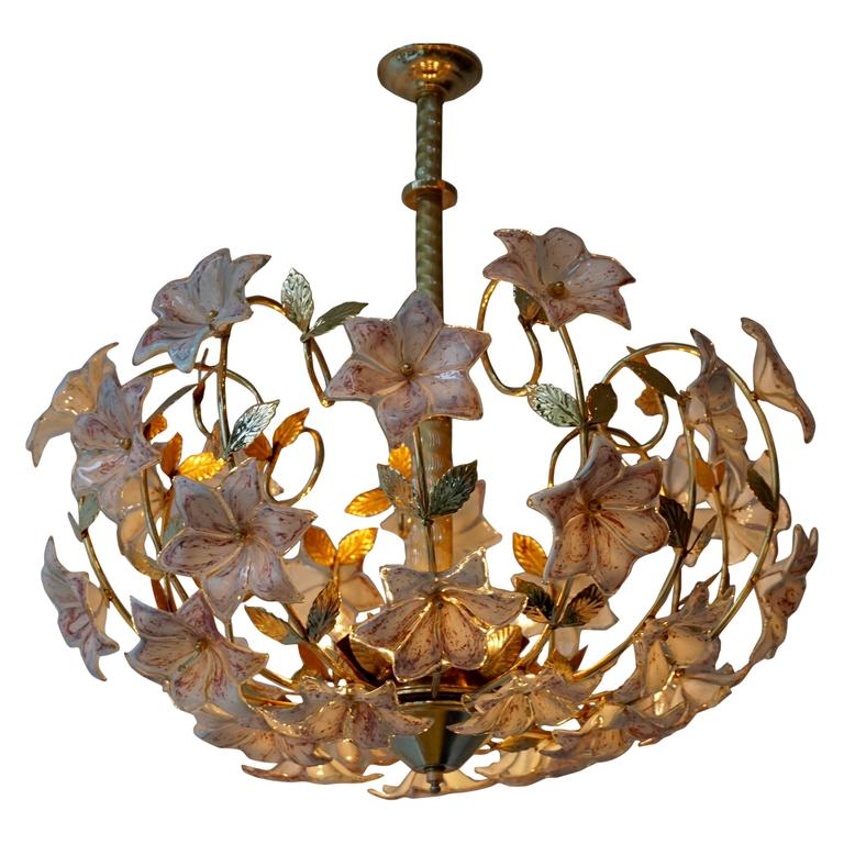 Italian Murano Flower Chandelier with Gold Colored Brass Leaves For Sale