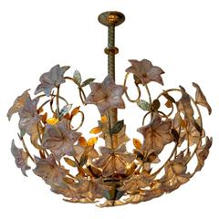 Italian Murano Flower Chandelier with Gold Colored Brass Leaves