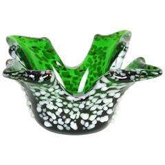 Sculptural Emerald Green Murano Art Glass Bowl with White Murrine Decorations