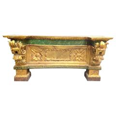 18th Spanish Gilt Altar Console, Original Policrhomed, Signed, Masterpiece