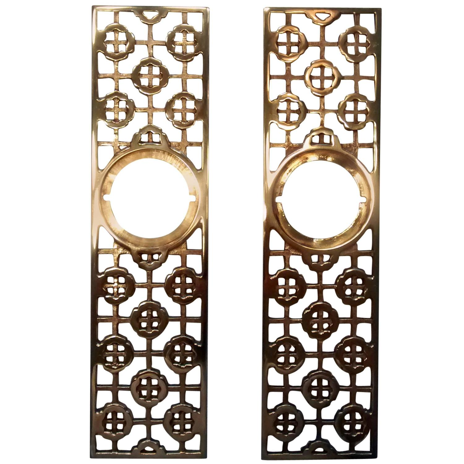 Pair Of Asian Motif Mid Century Modern Door Hardware