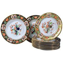 Set of Twelve Davenport Porcelain Japan-Pattern Plates and Soup Plates