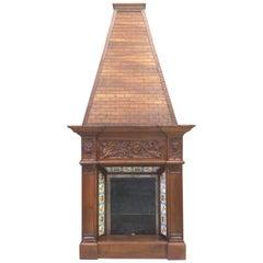 19th Century Fireplace Chimney in Walnut