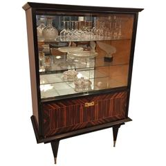 French Art Deco exotic macassar ebony vitrine / display cabinet